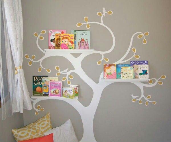 adesivo árvore estante livros leitura
