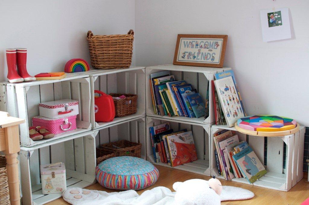 quarto das crianças reciclado sustentável estante