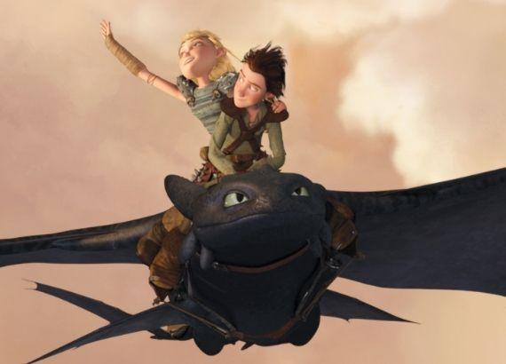 Filmes de comédia infantil e aventura. Como treinar o seu dragão personagens Soluço, Banguela e Astrid